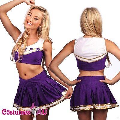 Girls Purple Cheerleader Costume School Girl Full Outfits Fancy Dress S - 2XL](Purple School Girl Costume)