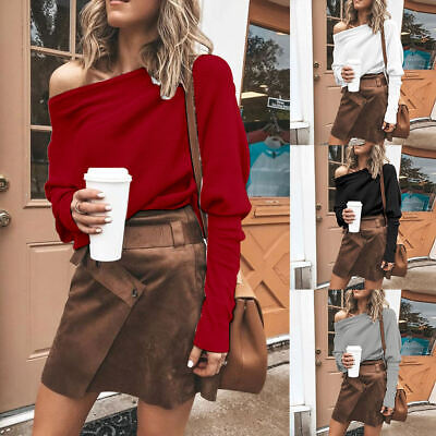 Womens Off Shoulder Long Sleeve Sweater Ladies Casual Baggy Jumper Pullover Tops