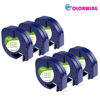 6 Pack Lt 91330 Dymo Letratag Refills Compatible With Dymo Label Maker Tape 12mm