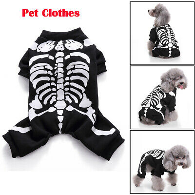 Haustier Hunde Katzen Kleidung Kostüm Skelett Stoffdruck Halloween Hundekleidung