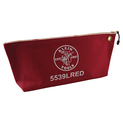 Klein Tools 5539LRED Canvas Bag with Zipper, Large Red Klein Tools Canvas Zipper Bag