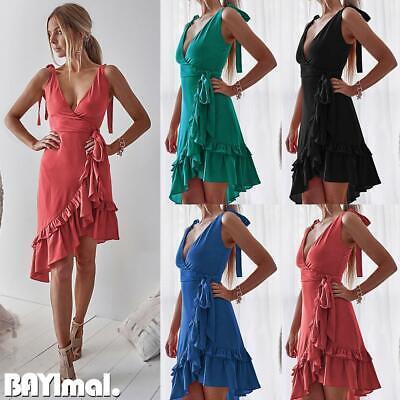 Womens Sexy Deep V Neck Mini Dress Ladies Casual Party Ruffle Sleeveless Dresses