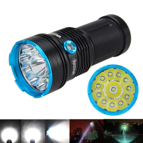 30000Lm 12xXML T6 LED Ultrabright Taschenlampe Flashlight 6x18650 EU Ladegerät