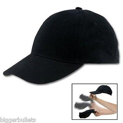 Self Defense Baseball Hat Plain Black Cap Low Profile Weighted Style Impact SAP