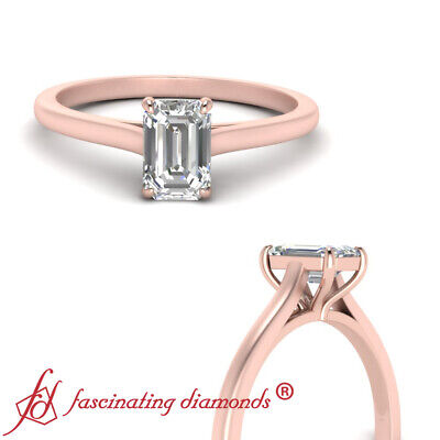 1/2 Carat Emerald Cut Diamond High Set Solitaire Engagement Ring In Rose Gold