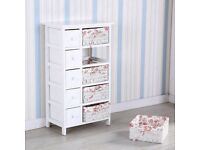 Mecor Bedside Cabinet White Chest of Drawers Storage Unit Wooden Wicker Baskets save 32 %