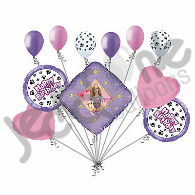 11 pc Barbie with Puppy Paws Happy Birthday Balloon Bouquet Party Decoration