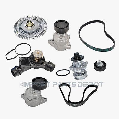 BMW Water Pump Fan Clutch Thermostat Belt Tensioner Belts M54 Kit (8pcs)