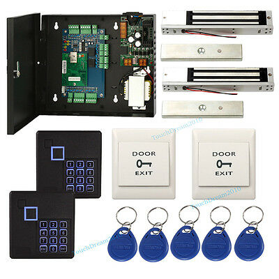 Two Door Security Access Control System Kit Keypad Reader600lbs Magnetic Lock