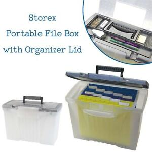 NEW Storex Portable File Box with Organizer Lid 17.13 x 9.63 x 11-Inch, Clear/Silver Condition: New