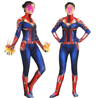 Captain Marvel Carol Danvers Women Girls Halloween Cosplay Bodysuit Costume