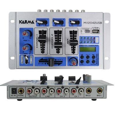 KARMA MX 2042USB mixer 5 canali 3 in line 2 phono lettore mp3 x dj live karaoke usato  Italia