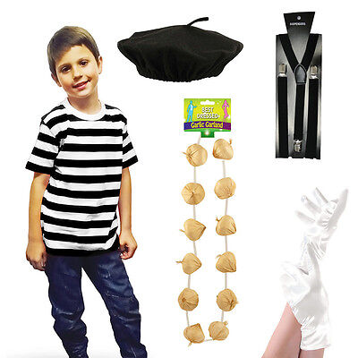 New Kids French Man Mime Artist Fancy Dress T Shirt Beret Braces Gloves Costume - Mime Costume Kids