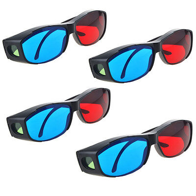 4pcs Red Blue 3D Glasses Frame for Dimensional Anaglyph Movie DVD Game