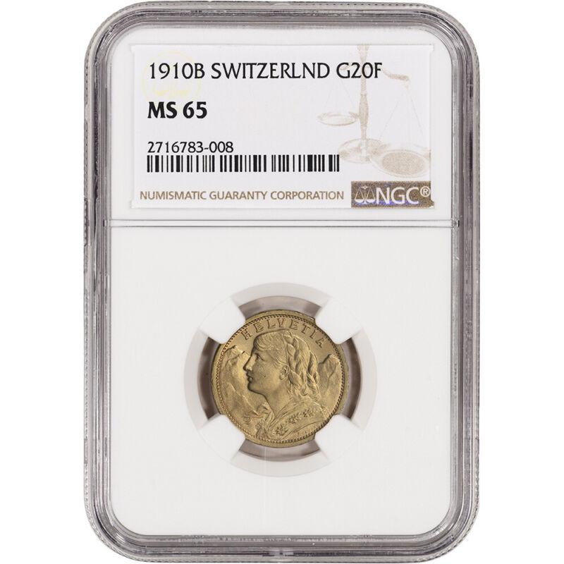 1910 B Switzerland Gold 20 Francs - NGC MS65