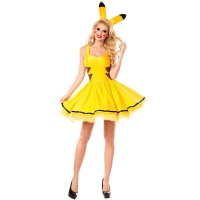 Pokemon Pikachu Womens Halloween Dress Fancy Cosplay Yellow Cartoon Costume