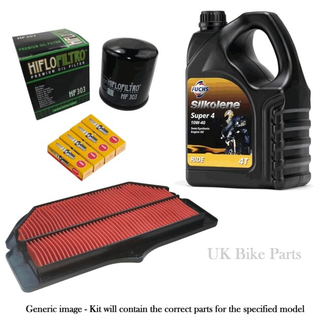 Suzuki GS 500 95-02 Service Kit -Air & Oil Filter Silkolene Oil + Spark Plugs