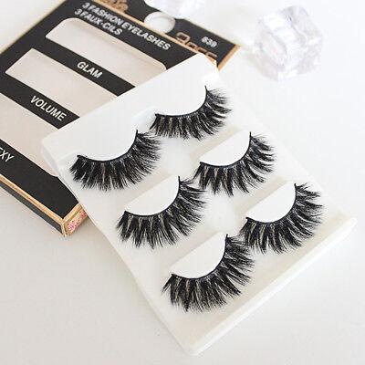 Fashion Natural Faux Mink 3 Pairs Fake Eye Lashes False Eyelashes Makeup Thick