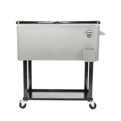 80QT Patio Rolling Cooler Picnic Ice Chest Party Cooler Cart Stainless Steel Rolling Party Cooler