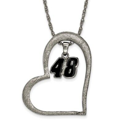 Jimmie Johnson #48 Stainless Steel Large Open Heart & Driver Number Pendant - Jimmie Johnson Driver Number