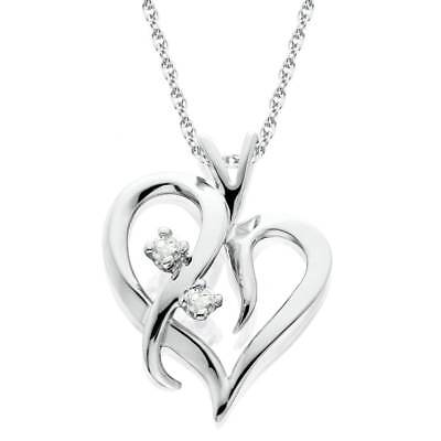 "Heart Shape Genuine Diamond Pendant High Polished White Gold 1/2""Tall"
