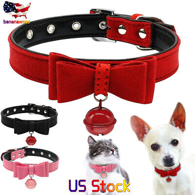 - Dog Cat Collar Inner Padded Leather Collars With Bell And Bowknot Pink Red Black