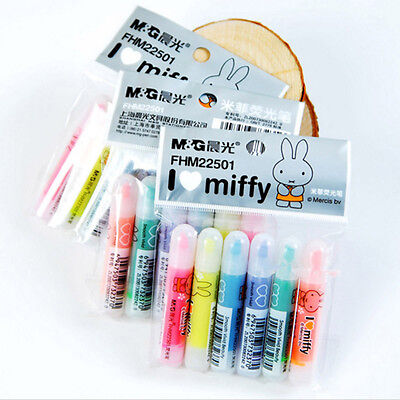 6pcs Mini Cartoon Painting Fluorescent Pen Rabbit Highlighter Marker