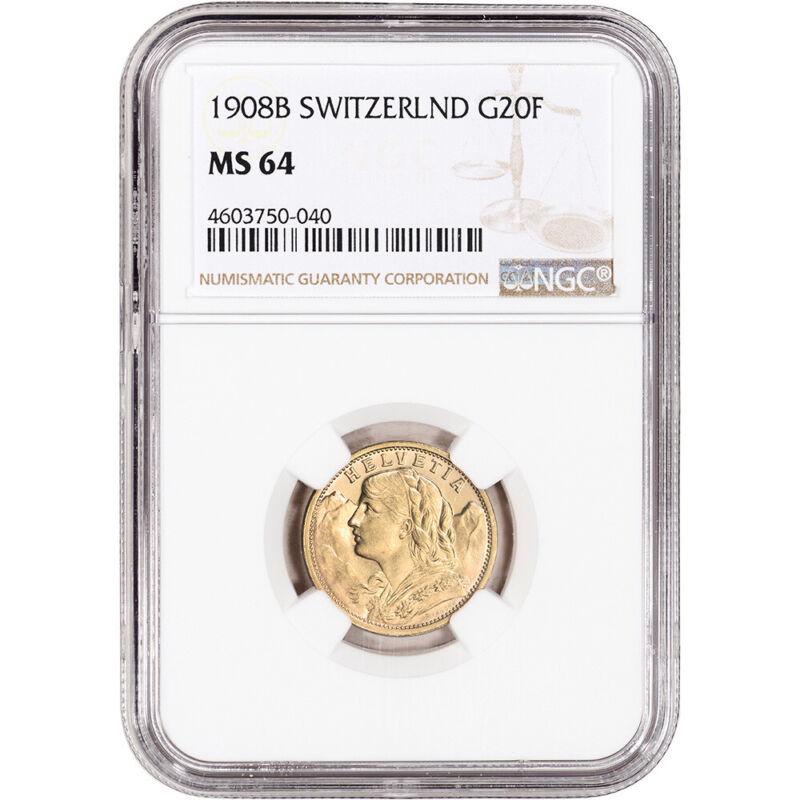 1908 B Switzerland Gold 20 Francs - NGC MS64