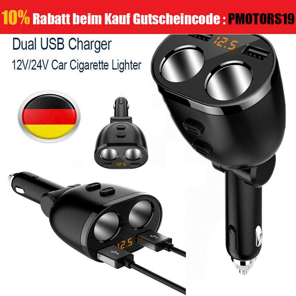 KFZ ZIGARETTENANZÜNDER HANDY NAVI AUTO ADAPTER USB CAR BUCHSE 12V//24V 2-fach