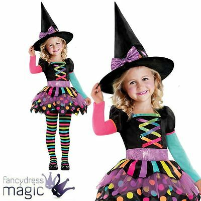 New Deluxe Girls Toddler Miss Matched Witch Halloween Fancy Dress Costume Outfit - Toddler Witch Costume