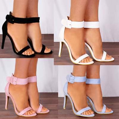 171018654665 BABY LIGHT PINK ANKLE STRAP STILETTOS PEEP TOES STRAPPY SANDALS HIGH HEELS  SHOES