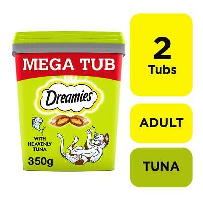 2 x 350g Dreamies Adult Cat Treats Tubs With Tuna Cat Biscuits (700g)