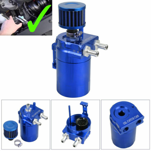 Aluminum Alloy Oil Catch Reservoir Breather Tank W//Air Filter Baffled Breather
