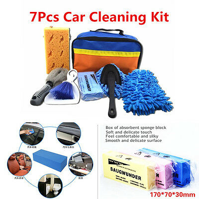 7Pcs Car Cleaning Tools Car Wash Kit Interior Exterior Cleaning Sponge Brush&Bag