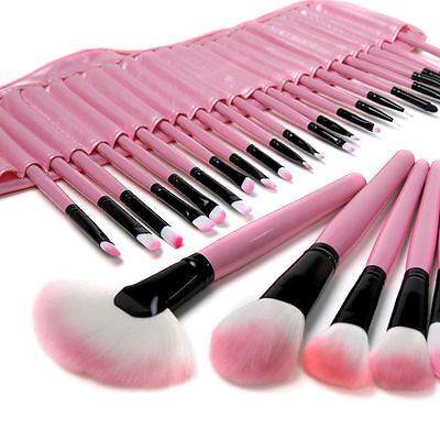 PINK 32PC Professional Soft Cosmetic Eyebrow Shadow Makeup Brush Set + Pouch Bag