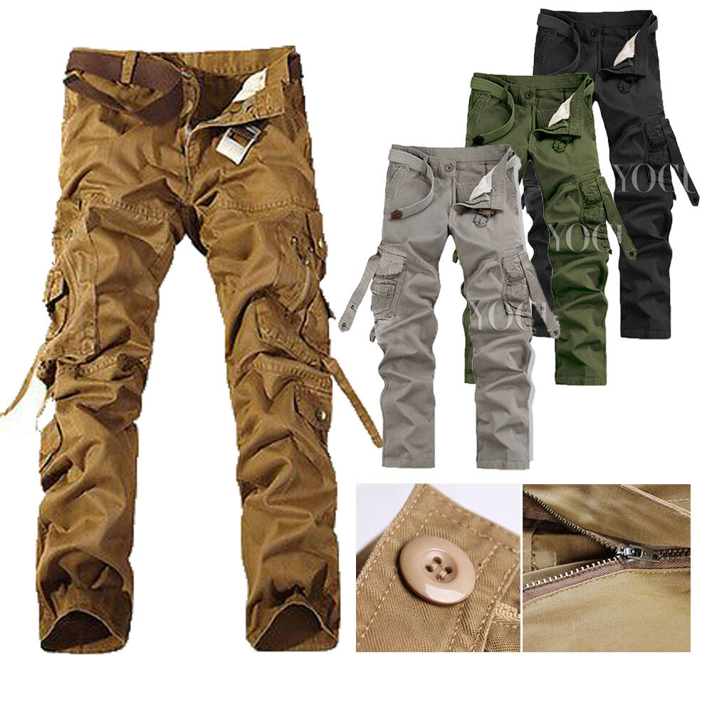 Mens Military Army Tactical Fatigue Cargo Pants Combat Camou
