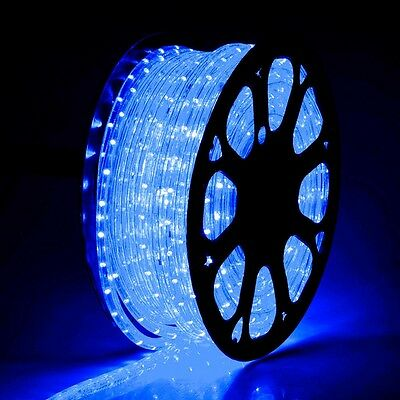 150' Flex LED Blue Rope Light 2-Wire Outdoor Home Decoration Party Lighting 110V