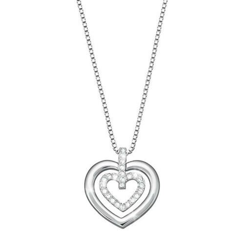Valyria Mens Hip Hop Twist Chain CZ Fully Iced-Out Broken Heart Pendant Necklace