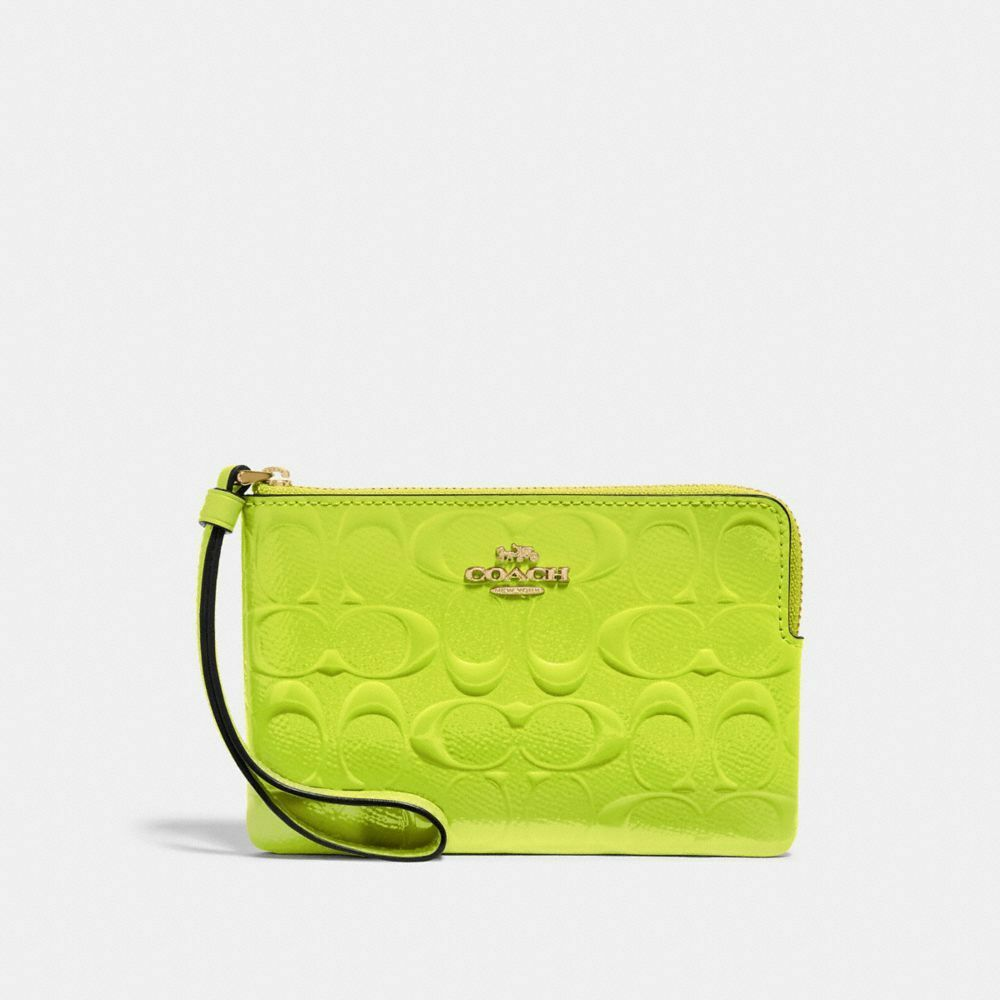 New Coach F58032 F58035 Corner Zip Wristlet With Gift Box New With Tags Neon Yellow Patent Leather