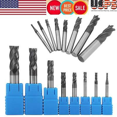 8pcs 2-12mm 4 Flutes Carbide End Mill Set Tungsten Steel Milling Cutter Tool Us