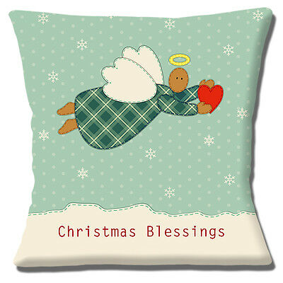 Christmas Angel Cushion Cover 16 x 16 inch 40 cm Square Heart Green Snowflakes
