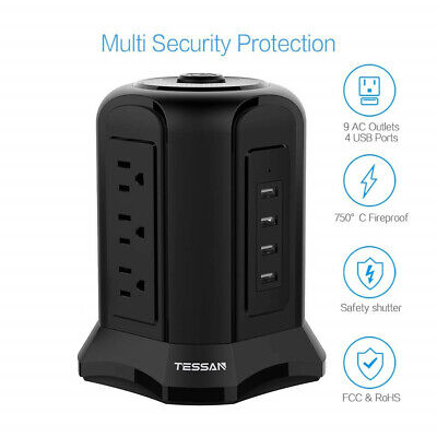 TESSAN Surge Protector Power Strip 4 USB Ports & 9 Outlets & 7ft Extension Cord