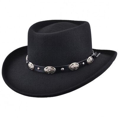Crushable Wool Felt Gambler Cowboy Hat with Buckle Band - Black