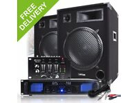 "Complete 15"" PA DJ Party Disco Sound System Speakers + Amplifier + Mixer 2000W"