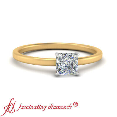 Womens Two Tone Hidden Halo Engagement Ring With 3/4 Carat Princess Cut Diamond 1