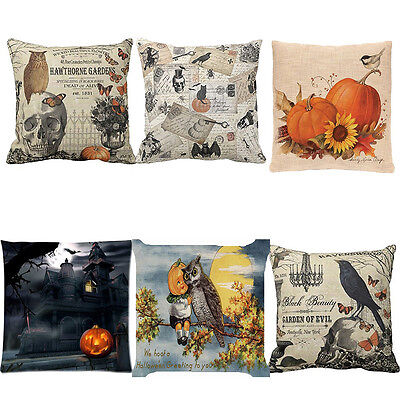 Happy Halloween Pillow Cases Cotton Linen Sofa Throw Cushion Cover Home Decor