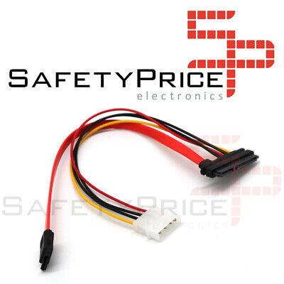 Cable Alimentacion SATA 15+7 pin 22 pin Corriente/Datos a 4 pin Molex...