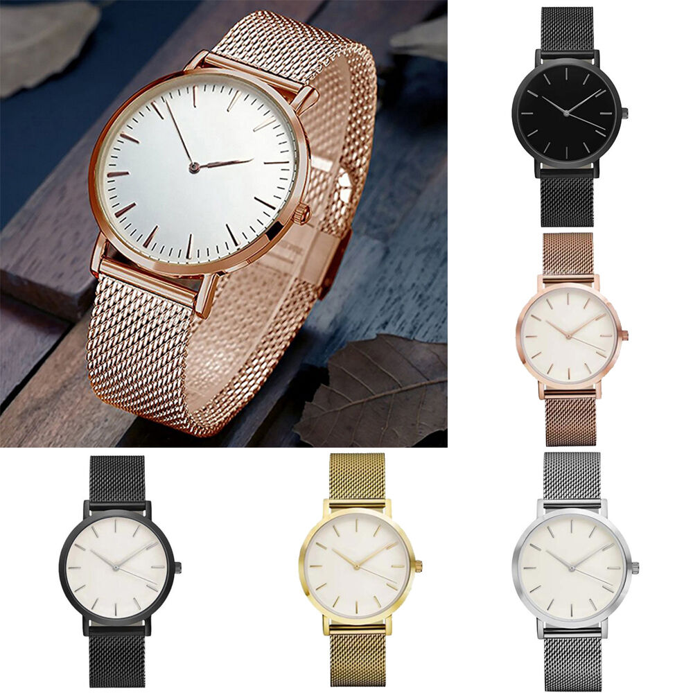 $0.99 - Luxury Women Men Stainless Steel Watch Analog Quartz Bracelet Wrist Watches Gift