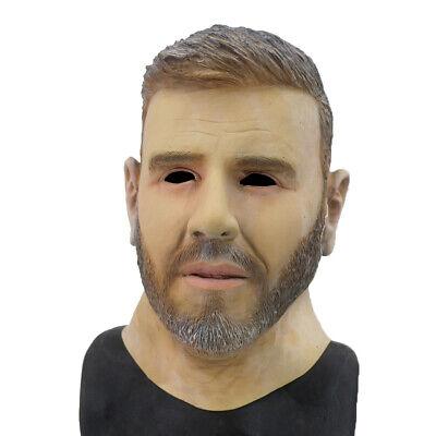 Latex Realistic Male Head Masks Human Look Halloween Cosplay Costumes