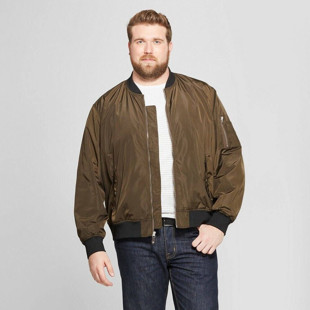 Men's Big & Tall Matte Bomber Jacket – Goodfellow & Co – Olive Green – 2XB Clothing, Shoes & Accessories